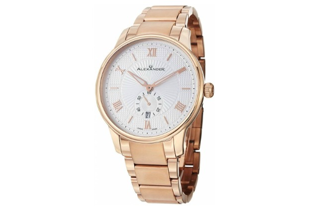 best_watches_under_500_dollars_(50)_Alexander_Statesman_Regalia_Silver_Dial_Rose_Gold_Plated_Bracelet_Swiss_Men's_Watch_A102B-04