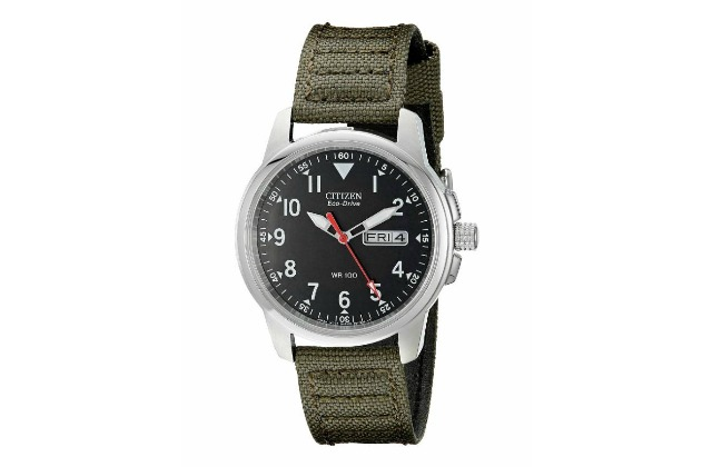 best_mens_watches_under_200_Citizen_Men's_BM8180-03E_Eco-Drive_Stainless_Steel_Watch_with_Green_Canvas_Band