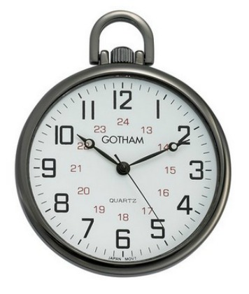 Gotham Men's Gun Metal Ultra Thin Railroad Open Face Quartz Pocket Watch GWC15026B