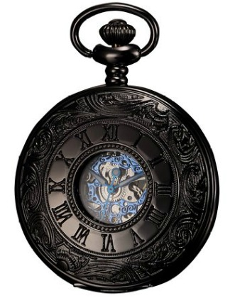 Ks Antique Black Hollow Case Retro Roman Numerals Dial Mechanical Pocket Watch
