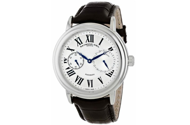 best_mens_watches_under_1000_Raymond_Weil_Men's_2846-STC-00659_Maestro_Stainless_Steel_Watch_with_Leather_Band