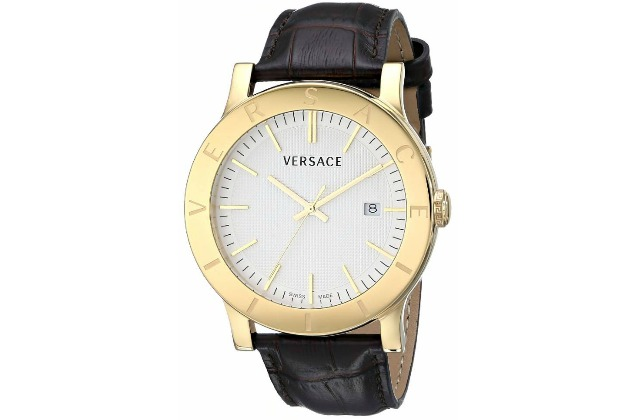 best_watches_under_1000_dollars_Versace_Men's_VQB030000_Acron_Gold-Plated_Watch_with_Brown_Leather_Band