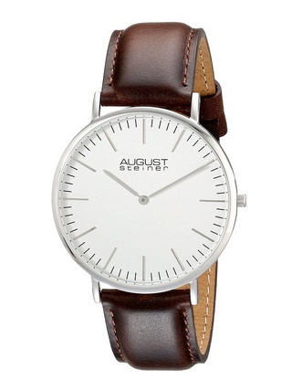 August Steiner Men's AS8084XBR Stainless Steel Watch with Brown Leather Band