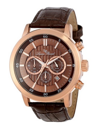 Lucien Piccard Men's 12011-RG-04 Monte Viso Chronograph Brown Textured Dial Brown Leather Band Watch