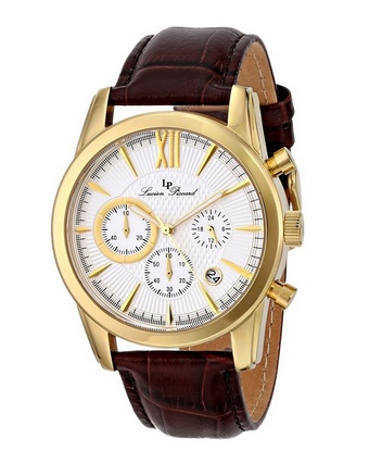 Lucien Piccard Men's LP-12356-YG-02S Mulhacen Chronograph White Textured Dial Brown Leather Watch