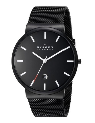 "Skagen Men's SKW6053 ""Ancher"" Black Stainless Steel Watch with Mesh Band"