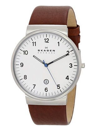 Skagen Men's SKW6082 Ancher Stainless Steel Watch with Brown Leather Band